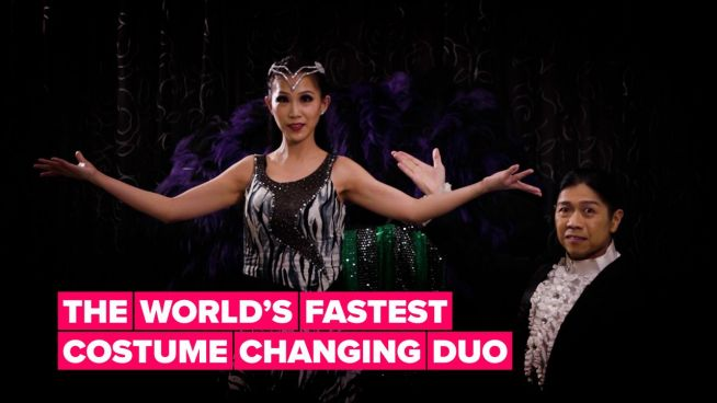 17 costumes in 30 seconds? That's no problem for this talented couple!