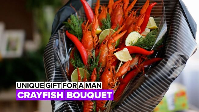 Edible bouquet: Crayfish floral arrangement