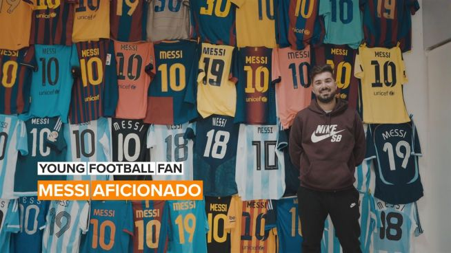 Young Football Fan: This guy knows what he wants and it's Messi jerseys