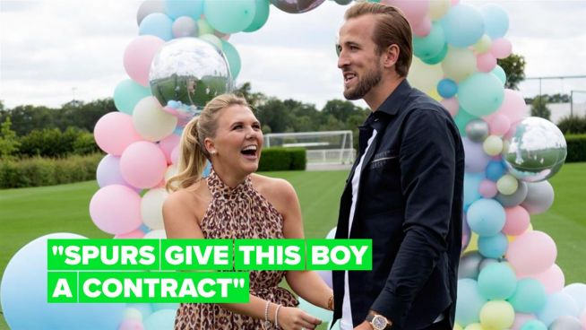 Harry Kane scores a baby boy in epic gender reveal video